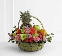 Picture of Rest in Peace Fruit & Flowers Basket