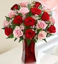 Picture of 18 Pink & Red Rose Bouquet
